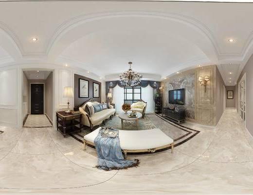 美式客餐厅, 电视柜, 吊灯, 茶几, 多人沙发, 壁画, 椅子, 边几, 台灯, 壁灯, 沙发躺椅, 美式