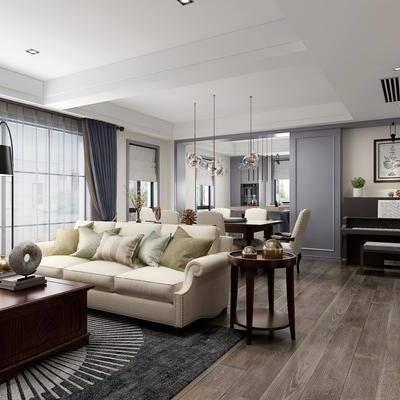 美式客餐厅, 美式, 美式客厅, 美式餐厅, 美式沙发, 美式茶几, 边柜, 钢琴