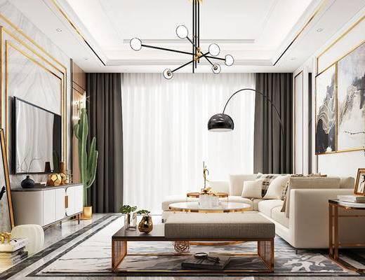 现代客餐厅, 吊灯, 多人沙发, 壁画, 落地灯, 茶几, 电视柜, 边几, 沙发凳, 盆栽, 现代
