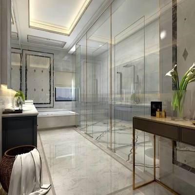 卫生间, 浴缸, 洗手台, 淋浴间, 柜子, 现代