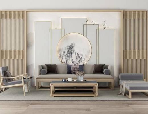 中式沙发组合, 沙发组合, 茶几, 沙发凳, 中式