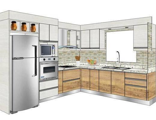 厨柜, 现代, 厨房, 冰箱