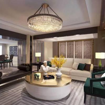 后现代客厅, 吊灯, 多人沙发, 茶几, 椅子, 边几, 台灯, 桌子, 花瓶, 后现代
