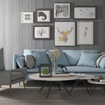多人沙发, 茶几, 椅子, 壁画, 现代