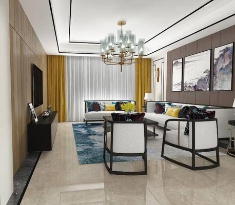 新中式客厅, 壁画, 多人沙发, 茶几, 边几, 台灯, 电视柜, 椅子, 吊灯, 新中式