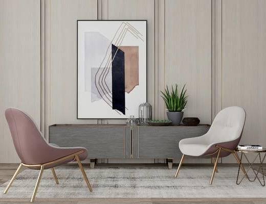 现代边柜组合, 单椅, 边柜, 盆栽, 挂画, 现代
