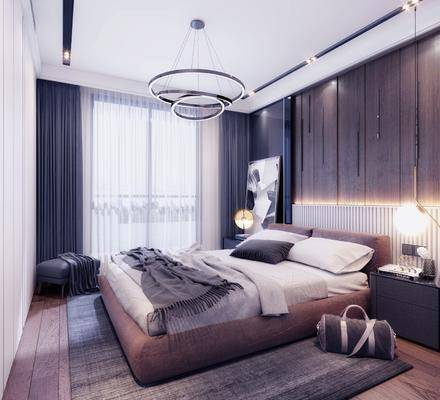 现代卧室, 现代床具, 现代床头柜, 床头柜, 床具, 台灯, 吊灯, 挂画