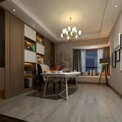 新中式书房, 吊灯, 桌子, 椅子, 置物柜, 壁画, 新中式