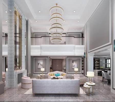 客厅, 简欧客厅, 沙发组合, 简欧沙发, 沙发茶几组合, 吊灯