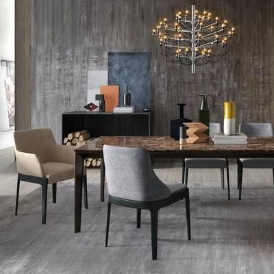 现代简约, 桌椅组合, 吊灯, 陈设品组合, 现代