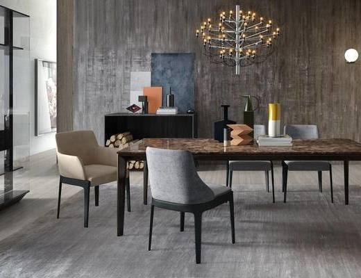 现代简约, 桌椅组合, 吊灯, 陈设品组合, 意大利Molteni&C
