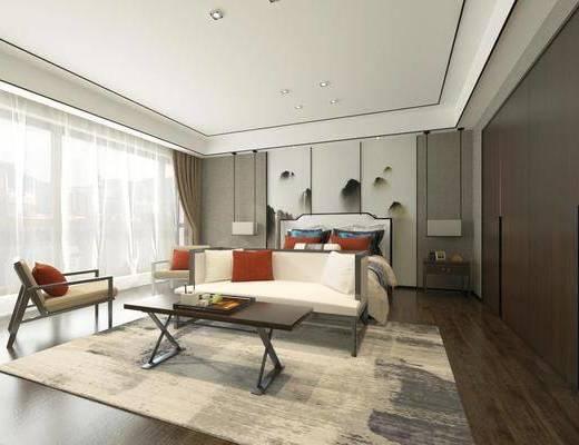 新中式, 卧室, 吊灯, 地毯, 床, 床头柜, 台灯, 背景墙, 单椅, 下得乐3888套模型合辑