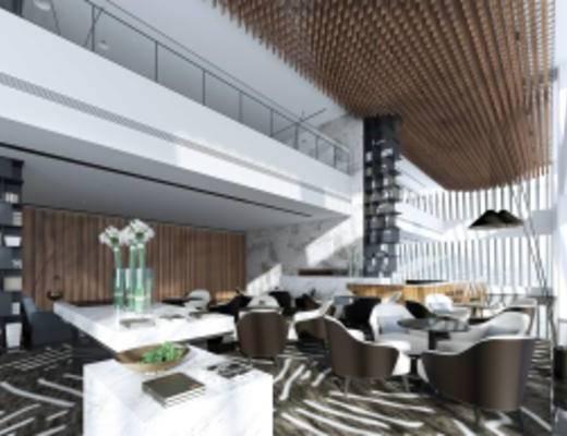 现代销售中心大堂, 现代桌椅组合, 储物架, 吧台, 落地灯, 摆件组合, 现代