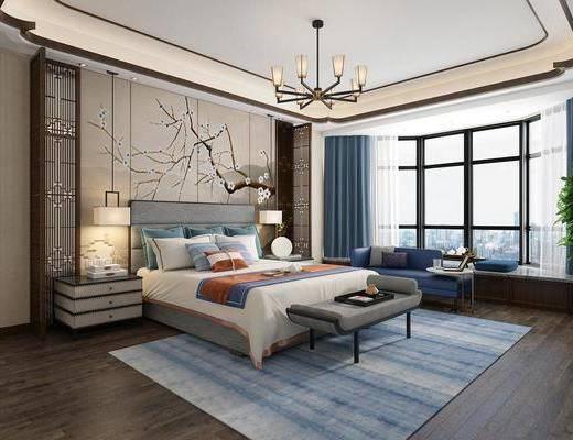 新中式, 卧室, 床具组合, 吊灯, 沙发茶几组合