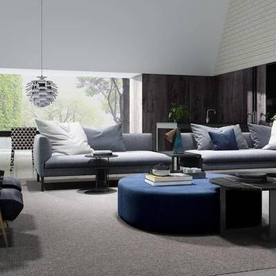 沙发茶几组合, 现代简约, 吊灯, 陈设品组合, 现代