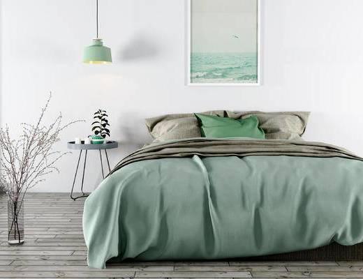 北欧, 床具, 吊灯, 挂画, 边几, 花瓶