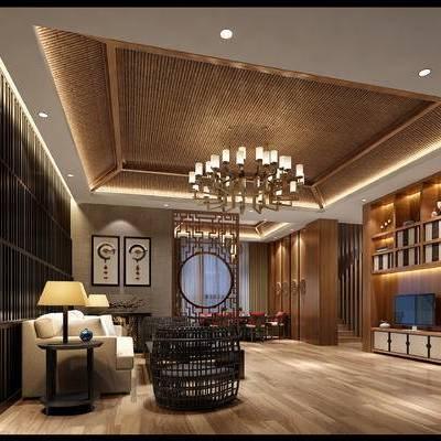 中式客餐厅, 吊灯, 多人沙发, 茶几, 椅子, 桌子, 置物柜, 边几, 台灯, 壁画, 中式