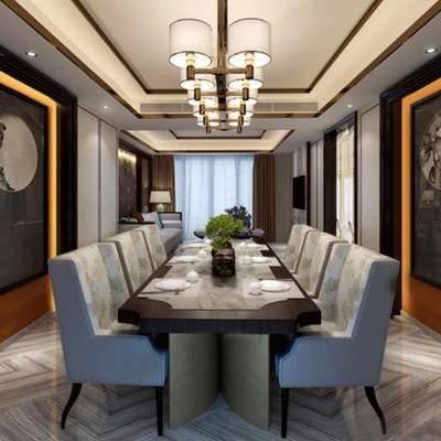 桌子, 椅子, 吊灯, 壁画, 多人沙发, 台灯, 新中式