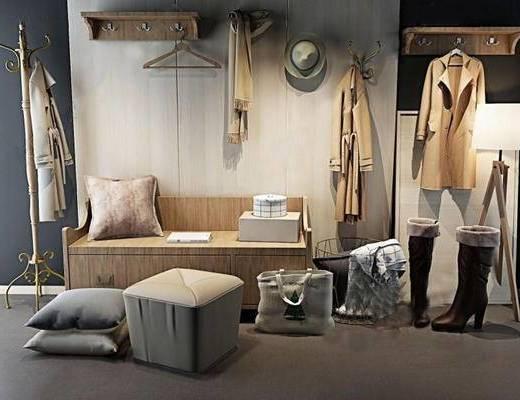 鞋柜, 柜架组合, 衣架, 鞋帽组合
