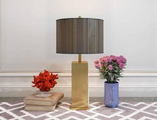 摆件组合, 台灯, 花瓶, 简欧