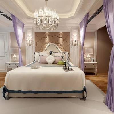 床具组合, 双人床, 吊灯, 床头柜, 台灯, 壁灯, 地毯, 欧式
