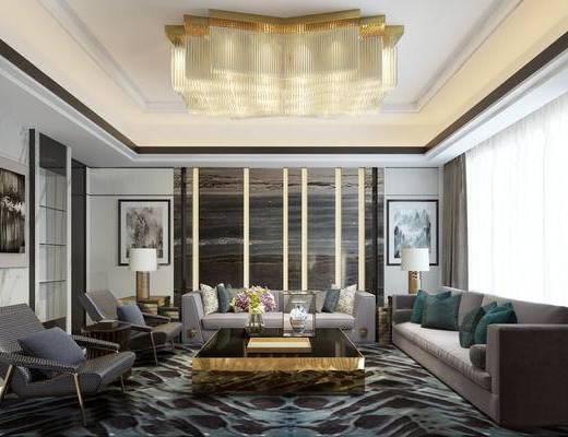 现代会客厅, 吊灯, 多人沙发, 茶几, 边几, 台灯, 壁画, 椅子, 花瓶, 地毯, 现代
