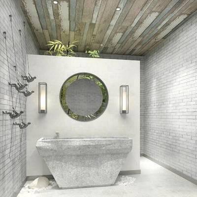 卫浴间, 镜子, 壁灯, 洗手台, 中式