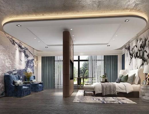 现代卧室, 壁画, 双人床, 床尾塌, 床头柜, 台灯, 地毯, 椅子, 现代