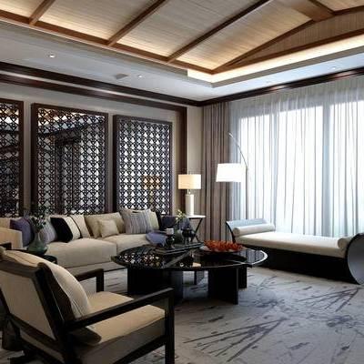 中式客厅, 多人沙发, 茶几, 边几, 台灯, 落地灯, 躺椅, 地毯, 中式