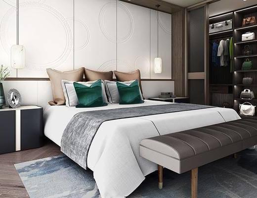 现代, 卧室, 床, 吊灯, 衣柜, 摆件, 脚踏, 床头柜, 花瓶, 衣服, 1000套空间酷赠送模型