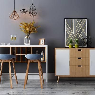 吧台, 吧椅, 边柜, 壁画, 吊灯, 花瓶, 北欧