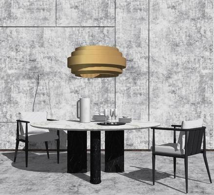 桌椅组合, 吊灯, 餐桌, 椅子, 现代