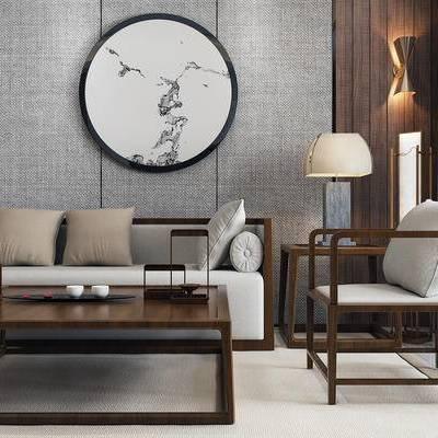 沙发组合, 新中式沙发, 壁画, 茶几, 椅子, 边几, 台灯, 落地灯, 新中式