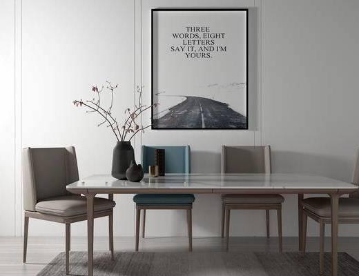 桌椅组合, 桌子, 椅子, 壁画, 花瓶, 现代