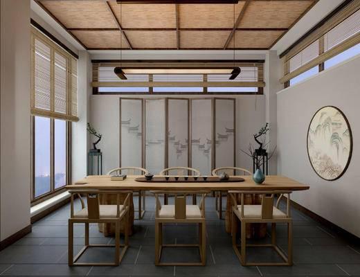 新中式茶室, 桌子, 椅子, 壁画, 吊灯, 屏风, 边几, 花瓶, 盆栽, 新中式