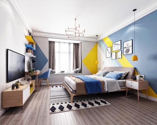 北欧卧室, 北欧床具, 吊灯, 电视柜, 床头柜, 挂画, 置物架, 书架, 书桌, 椅子