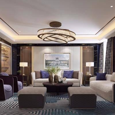 后现代宴客厅, 沙发茶几组合, 壁画, 吊灯, 边柜, 酒柜, 花瓶, 台灯, 后现代