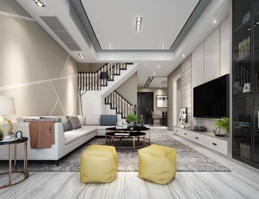 现代客厅, 电视柜, 多人沙发, 边几, 台灯, 置物柜, 茶几, 沙发凳, 现代