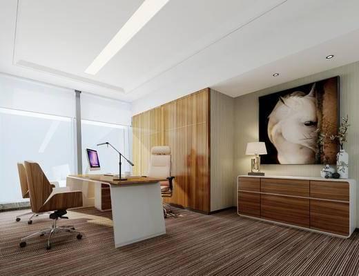 现代, 办公室, 经理办公室, 办公桌, 办公椅, 台灯, 苹果电脑, 边柜, 装饰柜, 挂画, 装饰画, 花瓶, 1000套空间酷赠送模型