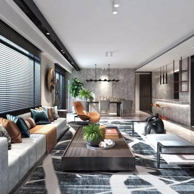 现代客厅, 沙发茶几组合, 雕塑, 桌椅组合, 地毯, 吊灯, 盆栽, 现代