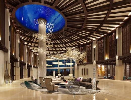 休闲区, 会客区, 吊灯, 多人沙发, 茶几, 椅子, 边几, 台灯, 现代