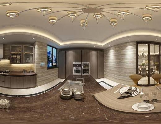 现代餐厅厨房, 橱柜, 桌子, 椅子, 吊灯, 现代