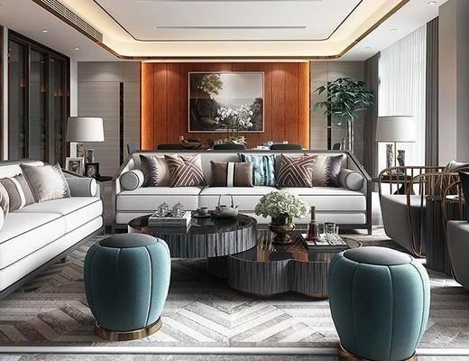 后现代客厅, 壁画, 多人沙发, 茶几, 台灯, 边几, 凳子, 置物柜, 后现代