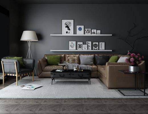 现代, 沙发, 茶几, 落地灯, 书架, 相架, 边几, 花瓶