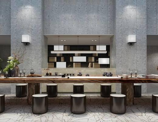新中式, 桌椅组合, 茶具组合, 壁灯