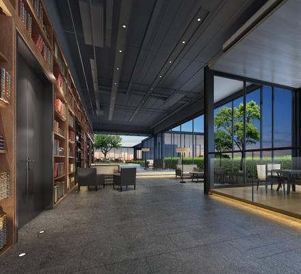 会客区, 多人沙发, 椅子, 落地灯, 置物柜, 桌子, 现代
