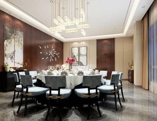 中式, 餐厅, 包间, 包厢, 餐桌, 椅子, 吊灯, 边柜, 1000套空间酷赠送模型