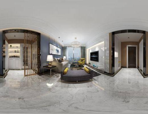 后现代简约客厅, 沙发茶几组合, 躺椅, 吊灯, 边几, 台灯, 酒柜, 花瓶, 玄关柜, 酒杯, 后现代摆件组合, 地毯, 后现代