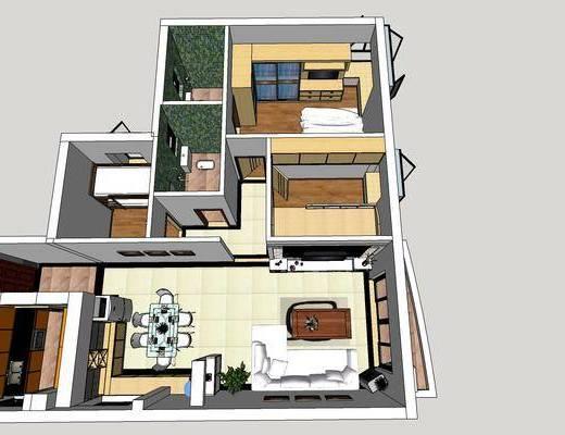 现代公寓, 卧室, 现代卧室, 现代客厅, 客厅