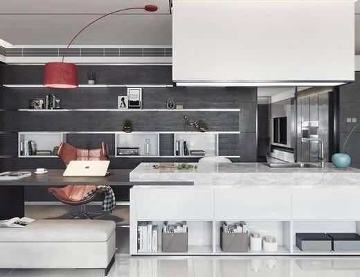现代厨房, 洗手台, 办工桌, 沙发椅, 书架, 现代